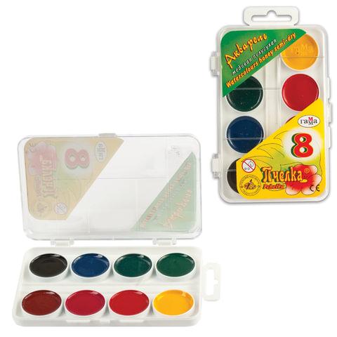 Краски акварельные ГАММА «Пчелка», 8 цветов, медовые, пластиковая коробка, без кисти