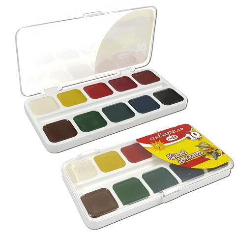 Краски акварельные ГАММА «Юный Художник», 10 цветов, медовые, пластиковая коробка, без кисти