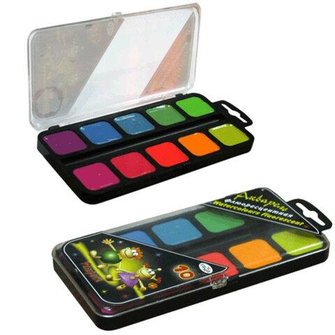 Краски акварельные ГАММА «Флюрики», 10 цветов, медовые, флуоресцентные, пластиковая коробка с европодвесом, без кисти