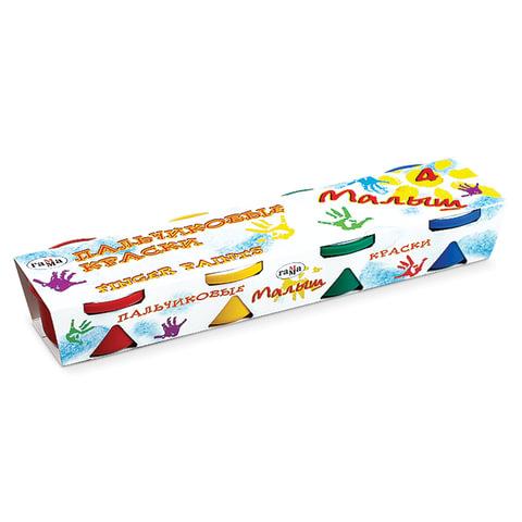 """Краски пальчиковые ГАММА """"Малыш"""", 4 цвета по 90 мл, на водной основе, в баночках"""