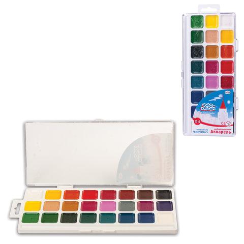 """Краски акварельные ГАММА """"Чудо-краски"""", 23 цвета (24 кюветы: 22 цветные + 2 белые), медовые, без кисти"""