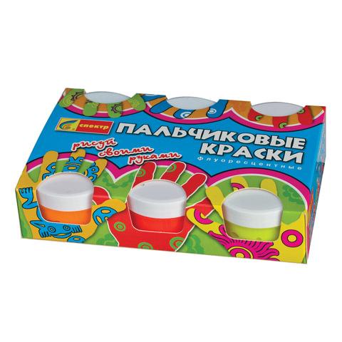 """Краски пальчиковые флуоресцентные СПЕКТР """"Яркая забава"""", 6 цветов по 60 мл, в баночках"""
