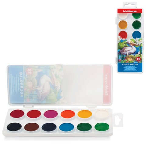 Краски акварельные ERICH KRAUSE «School», 12 цветов, медовые, пластиковая коробка с европодвесом