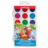 Краски акварельные ERICH KRAUSE «School», 18 цветов, медовые, пластиковая коробка с европодвесом