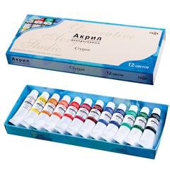 Краски акриловые художественные ГАММА «Студия», 12 цветов по 9 мл, в тубах