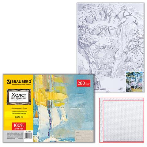Холст грунтованный на картоне с контуром BRAUBERG (БРАУБЕРГ), 30×40 см, 100% хлопок, мелкое зерно, пейзаж