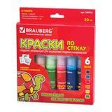 Краски по стеклу (витражные) BRAUBERG, 6 цветов по 20 мл (1 флуоресцентный), 12 шаблонов, подвес