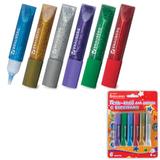 Гель-клей с блестками BRAUBERG (БРАУБЕРГ), 6 цветов по 6 мл (золотистый, серебр., красный, синий, зеленый, фиолетовый), блистер