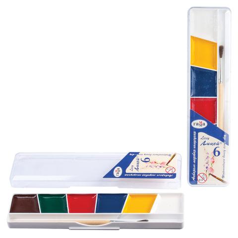 """Краски акварельные ГАММА """"Лицей"""", 6 цветов, пластиковая коробка с европодвесом, с кистью"""