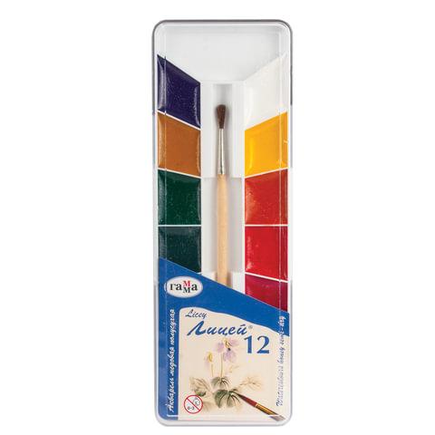 """Краски акварельные ГАММА """"Лицей"""", 12 цветов, медовые, с кистью, пластиковая коробка"""