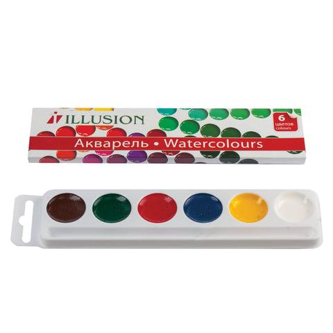 Краски акварельные ГАММА «Illusion», 6 цветов, медовые, картонная коробка, без кисти