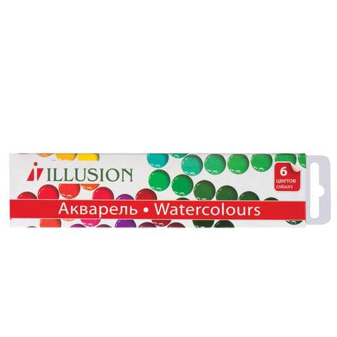 """Краски акварельные ГАММА """"Illusion"""", 6 цветов, медовые, без кисти, картонная коробка"""