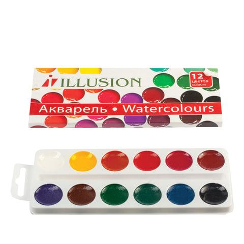 Краски акварельные ГАММА «Illusion», 12 цетов, медовые, картонная коробка, без кисти