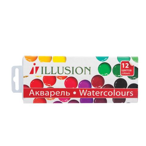 """Краски акварельные ГАММА """"Illusion"""", 12 цветов, медовые, без кисти, картонная коробка"""