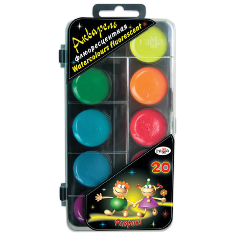 Краски акварельные ГАММА «Флюрики», 20 цветов, пластиковая коробка с европодвесом, без кисти