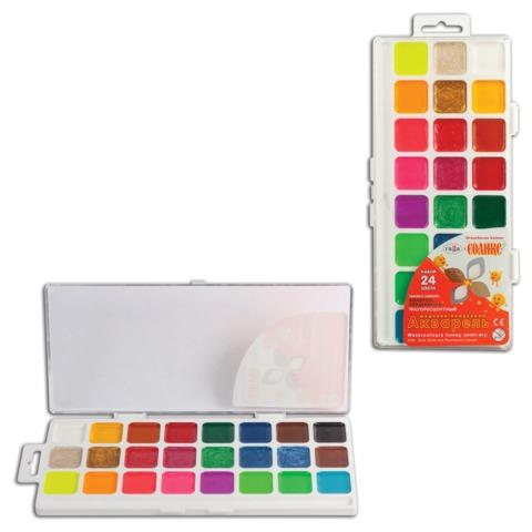 Краски акварельные ГАММА «Оранжевое солнце», 24 цвета, пластиковая коробка с европодвесом, без кисти