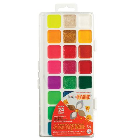 """Краски акварельные ГАММА """"Оранжевое солнце"""", 24 цвета, без кисти, пластиковая коробка, европодвес"""
