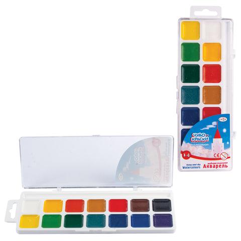 Краски акварельные ГАММА «Чудо-краски», 14 цветов, пластиковая коробка с европодвесом, без кисти