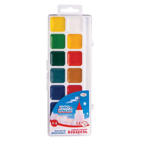 """Краски акварельные ГАММА """"Чудо-краски"""", 14 цветов, медовые, без кисти, пластиковая коробка, европодвес"""