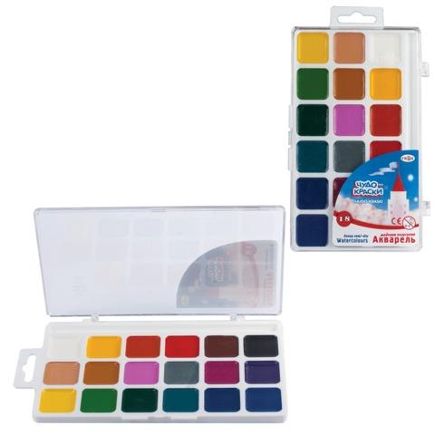 Краски акварельные ГАММА «Чудо-краски», 18 цветов, пластиковая коробка с европодвесом, без кисти
