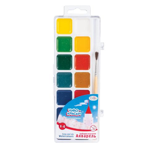 """Краски акварельные ГАММА """"Чудо-краски"""", 14 цветов, медовые, с кистью, пластиковая коробка, европодвес"""