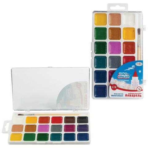 Краски акварельные ГАММА «Чудо-краски», 18 цветов, пластиковая коробка с европодвесом, с кистью