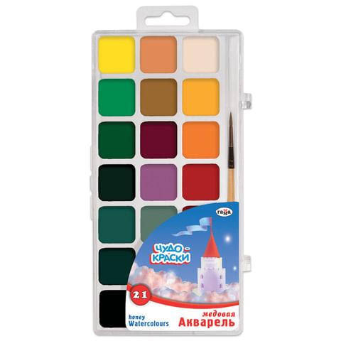"""Краски акварельные ГАММА """"Чудо-краски"""", 21 цвет, медовые, с кистью, пластиковая коробка, европодвес"""