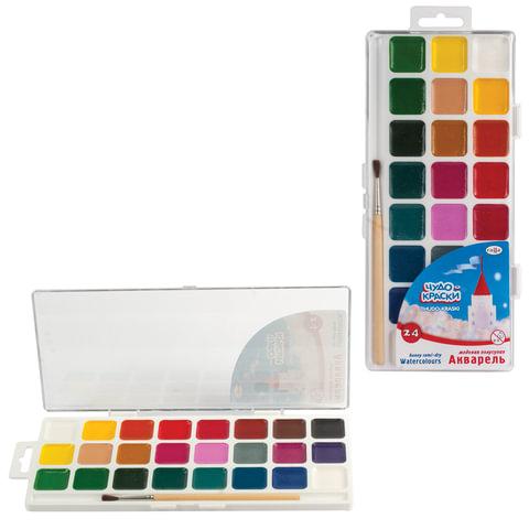 Краски акварельные ГАММА «Чудо-краски», 24 цвета, пластиковая коробка с европодвесом, с кистью