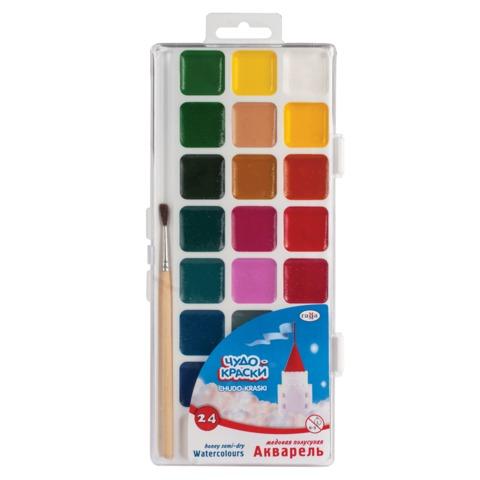 """Краски акварельные ГАММА """"Чудо-краски"""", 24 цвета, медовые, с кистью, пластиковая коробка, европодвес"""
