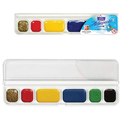 Краски акварельные ЛУЧ «Престиж», 6 цветов (5 цветов + 1 цвет: золотой), медовые, пластиковая коробка, без кисти