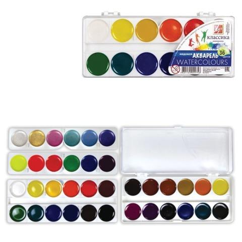 Краски акварельные ЛУЧ «Классика», 36 цветов, медовые, пластиковая коробка, без кисти