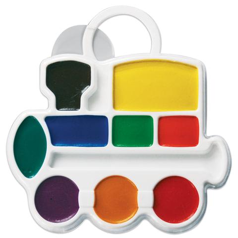 """Краски акварельные фигурные ЛУЧ """"Кроха"""", 9 цветов, """"Паровозик"""", медовые, без кисти, пластиковая коробка"""