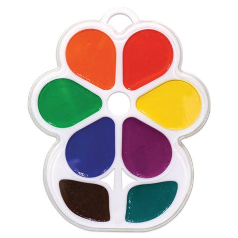 """Краски акварельные фигурные ЛУЧ """"Кроха"""", 8 цветов, """"Цветочек"""", медовые, пластиковая коробка, без кисти"""