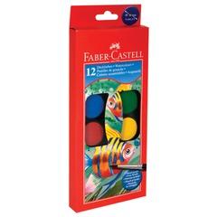 Краски акварельные FABER-CASTELL «Watercolours», 12 цветов, диаметр кювет 30 мм, с кистью, европодвес