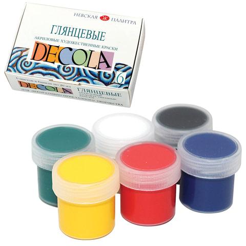 Краски акриловые «Декола», 6 цветов по 20 мл, картонная коробка