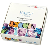 Краски по ткани акриловые «Декола», 5 цветов по 20 мл + контуры 2 цветов по 18 мл + разбавитель