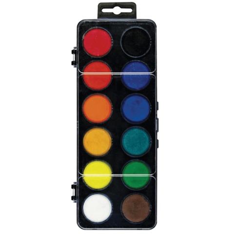 Краски акварельные KOH-I-NOOR, 12 цветов, без кисти, пластиковая коробка, европодвес