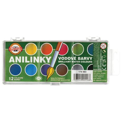 Краски акварельные KOH-I-NOOR, 12 цветов, с бриллиантовым оттенком, пластиковая коробка с европодвесом