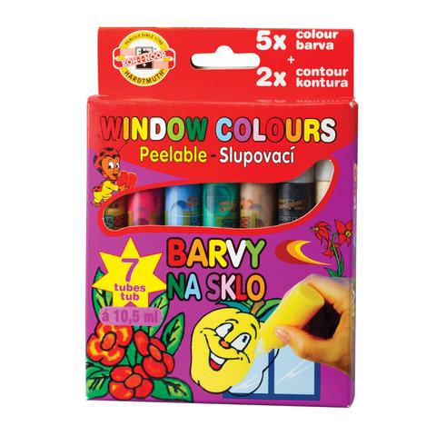 Краски по стеклу (витражные) KOH-I-NOOR, 7 цветов по 10,5 мл, в пластиковых тубах, европодвес