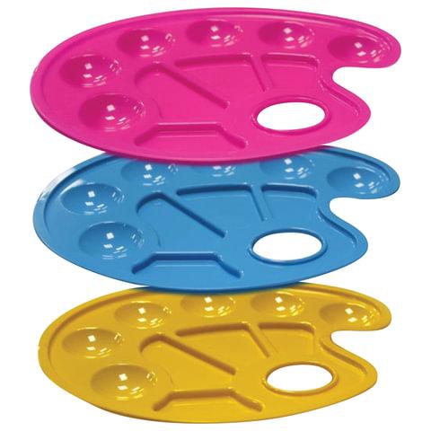 Палитра для рисования СТАММ пластиковая, овальная, 6 отделений для красок и 4 отделения для смешивания, ассорти