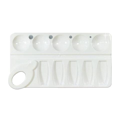 Палитра для рисования СТАММ пластиковая, прямоугольная, 4 отверстия для кистей и 10 отделений для красок