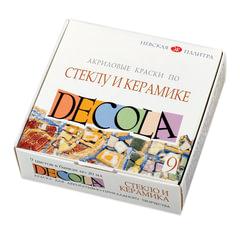 Краски акриловые по стеклу и керамике «Декола», 9 цветов по 20 мл, в баночках