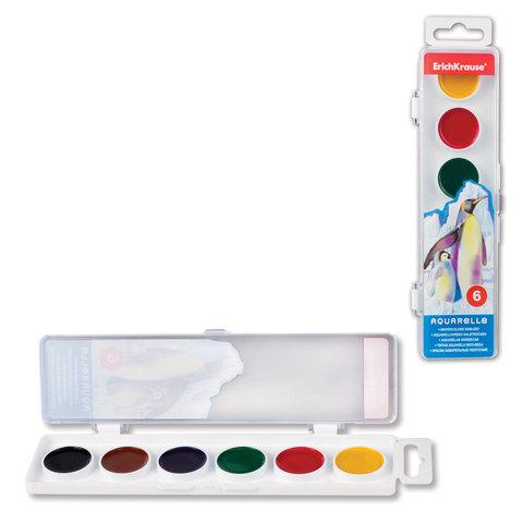 Краски акварельные ERICH KRAUSE «School», 6 цветов, медовые, пластиковая коробка с европодвесом, без кисти