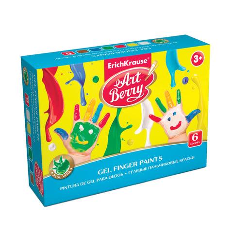 Краски пальчиковые ERICH KRAUSE «Artberry», 6 цветов по 35 мл, на водной основе, картонный рукав