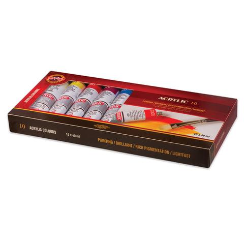 Краски акриловые художественные KOH-I-NOOR, 10 цветов по 40 мл, в алюминиевых тубах