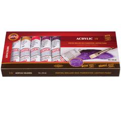 Краски акриловые художественные KOH-I-NOOR, 8 цветов по 40 мл + колеровочная паста + разбавитель, в тубах