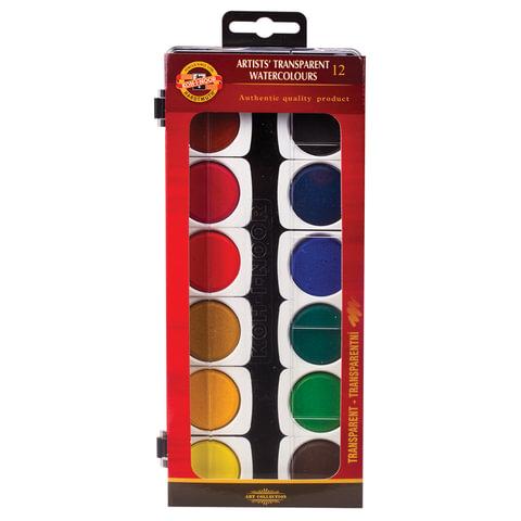 Краски акварельные художественные KOH-I-NOOR, 12 цветов, лессировочные (прозрачные), без кисти