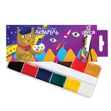 Краски акварельные POLIPAX, 12 цветов, медовые, без кисти, картонная коробка