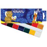 Краски акварельные POLIPAX, 14 цветов, медовые, без кисти, картонная коробка