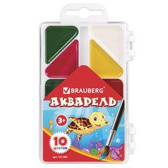 Краски акварельные BRAUBERG «Мозаика», 10 цветов, медовые, треугольные кюветы, пластиковая коробка, без кисти